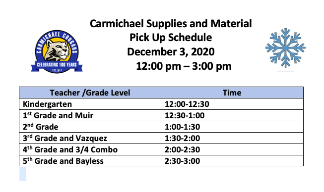 Student Material Pick Up Day is Thursday, December 3rd