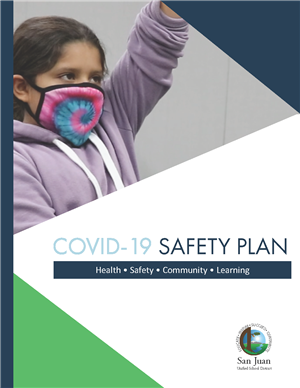 "Cover of COVID Safety Plan document, shows girl with face mask raising hand. ""COVID-19 Safety Plan: Health, Safety, Community"