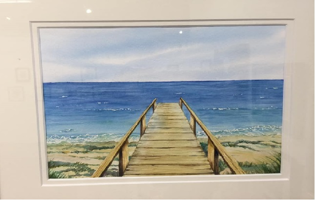 Seascape Watercolor by Student, Debbie Collison