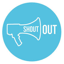 "blue circle with white outline of a megaphone and the words ""shout out"" coming out of the megaphone"