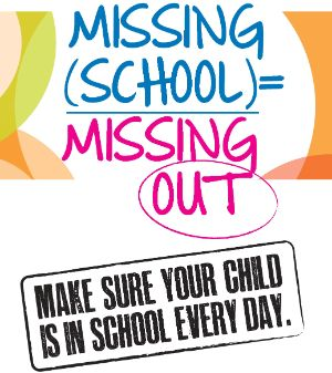 Text that says Missing school equals Missing Out (Make sure your child is in school every day