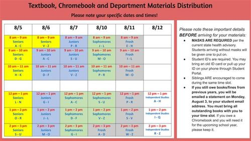 textbook, chromebook distribution