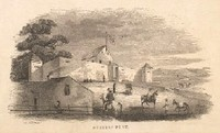 Old looking drawing of Sutter's Fort on a hill with horses in the foreground