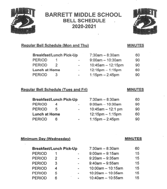 Barrett's Distance Learning Bell Schedule