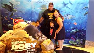 Mrs. Day with Mrs. Day and two sons at Finding Dory premiere.
