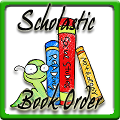Scholastic Book Order with three books and a bookworm