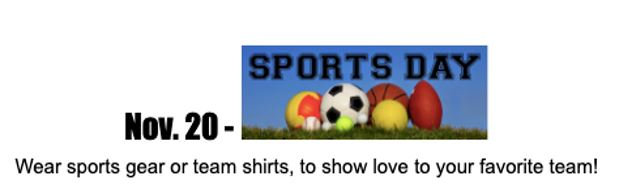 Lichen Spirit Day for November 20th- Sports Day!