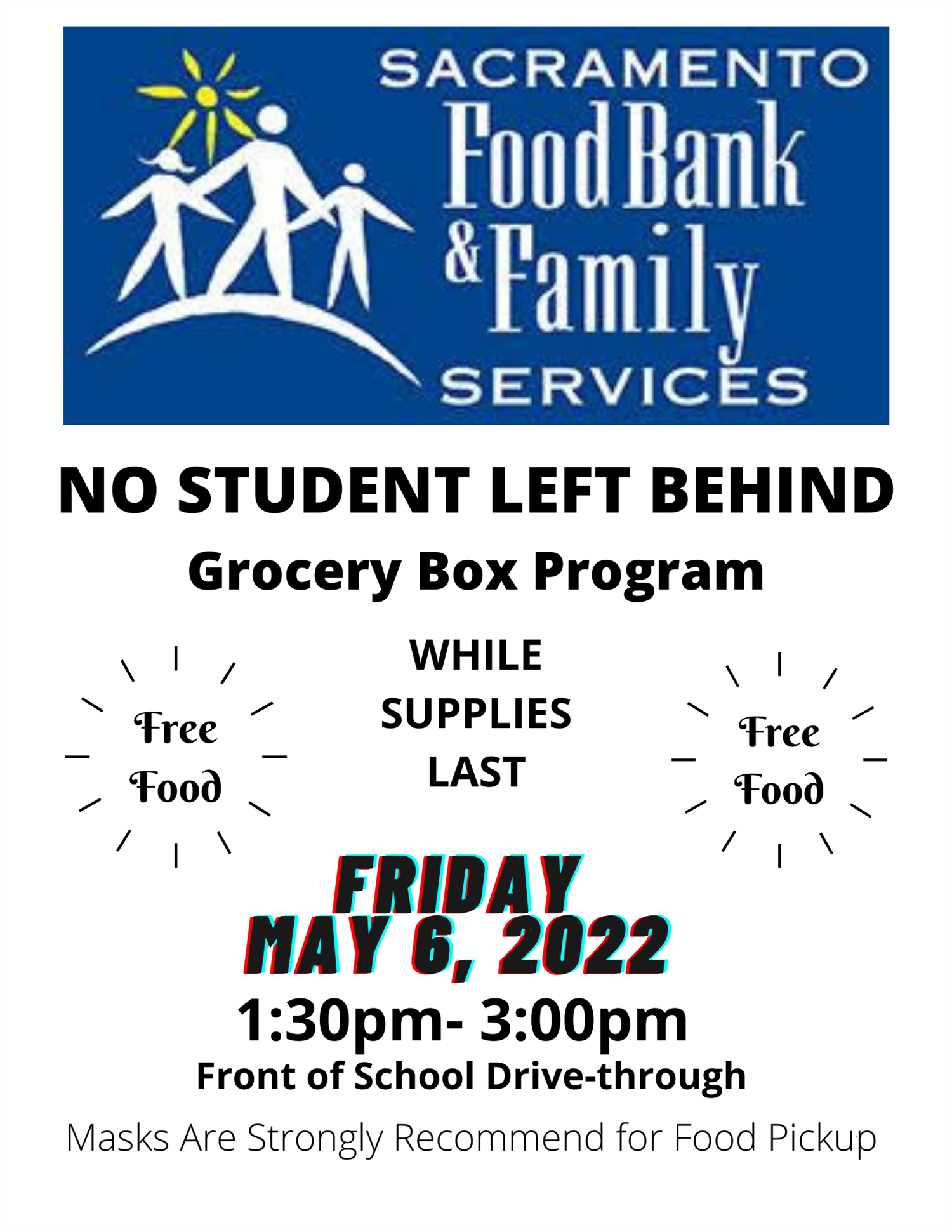 Flyer for No Student Left Hungry Program - May 14, 2021 11:00am to 2:30 pm