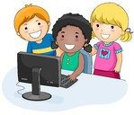 Three children looking at a computer