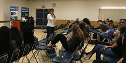 Photo of students sitting in classroom for human trafficking awareness training.