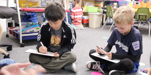 Mariemont students working on early literacy