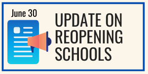 "Graphic showing icons for paper page and bullhorn; text reading ""Update on reopening schools"""