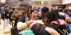 Student group huddle