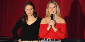 Bella Welter and Grace Freese speak to play audience