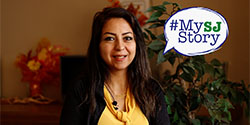 Photo of Moloud Mahabad, with #MySJStory logo