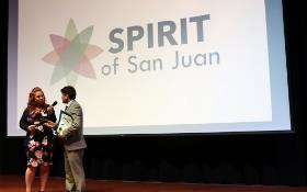 A Spirit of San Juan honoree speaking after receiving award
