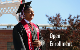 "Graduate with ""Open Enrollment"" text"