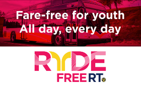 Fare-free for youth. All day, every day. Ryde Free RT. RT bus image.