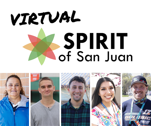 Virtual Spirit of San Juan logo with collage of 5 honorees
