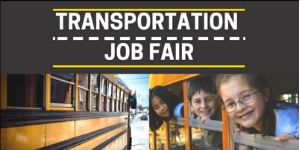 Transportation Job Fair flyer with students on bus