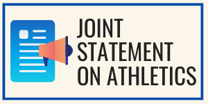 Joint statement on athletics with image of megaphone and paper