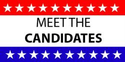 Graphic with stars across the top and bottom and Meet the Candidates text in the center.