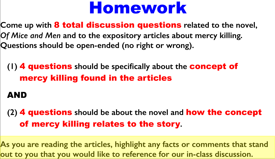 Of mice and men essay about mercy killing
