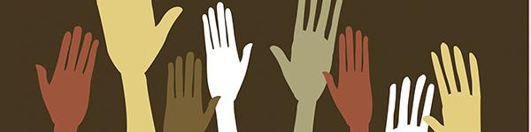 Graphic image of multi-racial raised hands