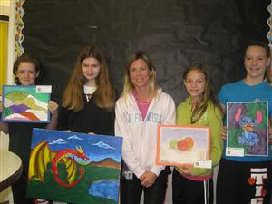 Mrs. Sanders with her art students