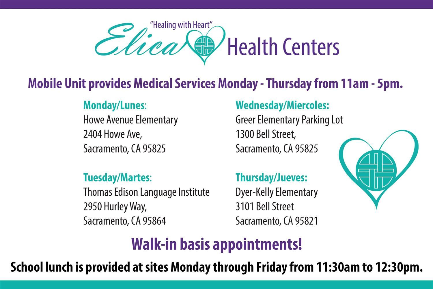 Elica Health Centers mobile clinic schedule