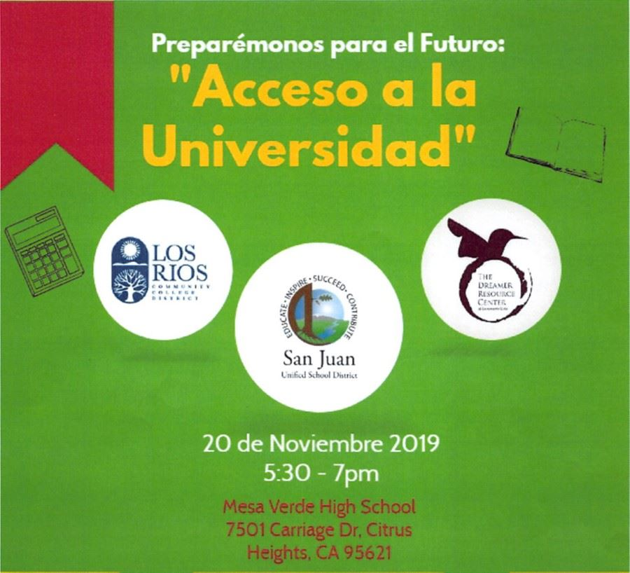 Accesso a la Universidad  - Access to College  Wednesday November 20th