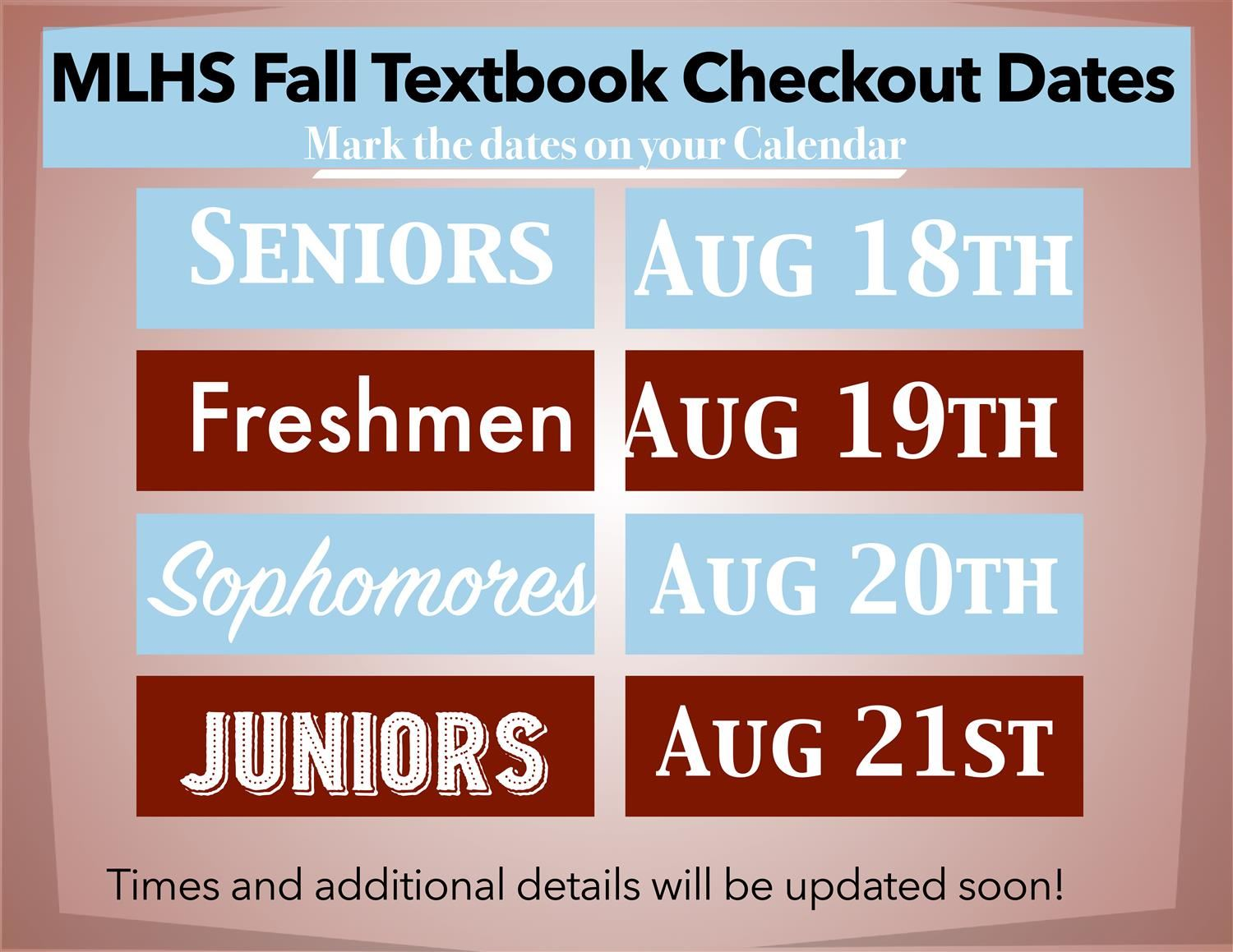 Textbook Checkout Begins next week!