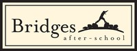 "Bridges logo: silhouette of child stepping over a gap between stones over the words ""Bridges after-school"""