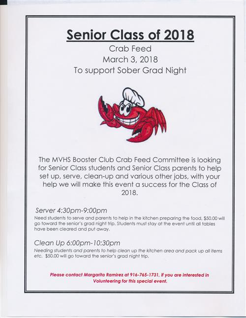 Mesa Verde HS Booster Club Crab Feed Volunteer Flyer