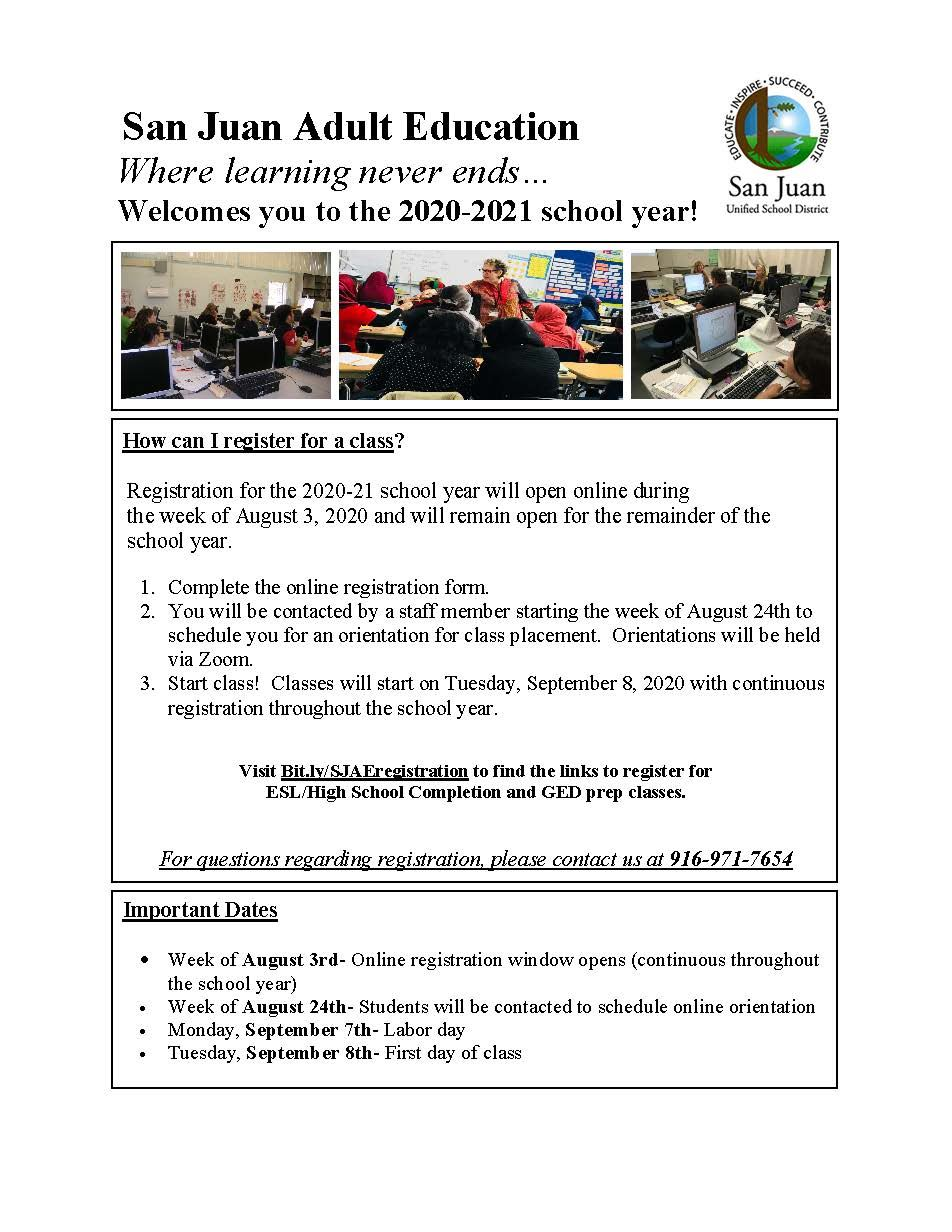Distance Learning Registration Flyer