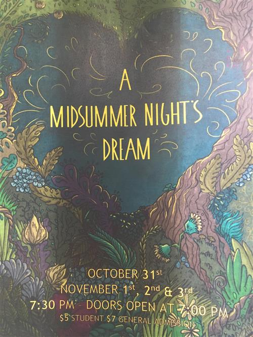 "Image of flyer with the text ""A Midsummer Night's Dream"""