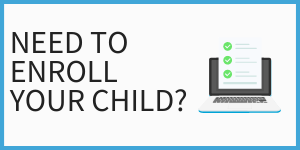 Need to enroll your child? with image of laptop and online form