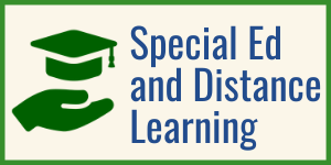 "Graphic: hand reaching a grad cap/ text: ""Special Education and Distance Learning Update"""
