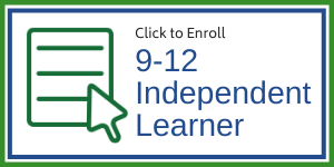 "icon representing enrollment form and text ""click to enroll 9-12 independent learner"""