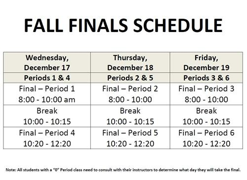 Fall Finals Schedule